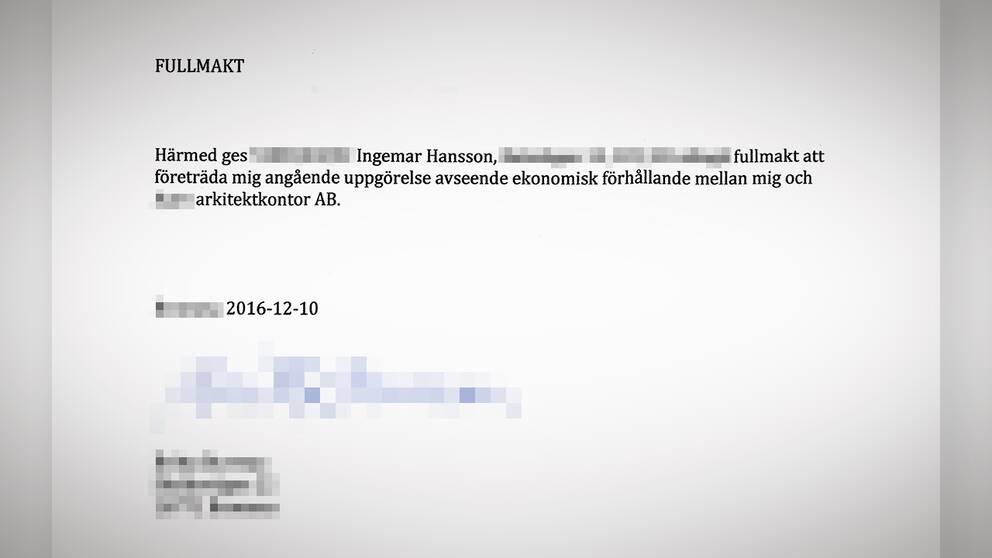Ingemar Hanssons fullmakt från vd:n.