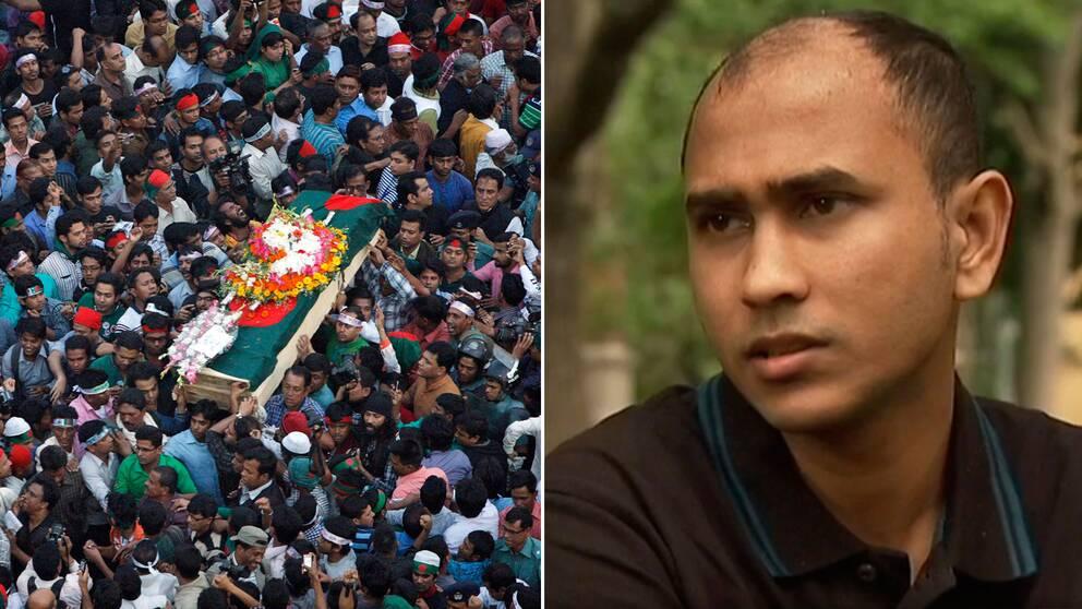 Ett begravningståg går genom Dhaka efter mordet på Ahmed Rajib Haider 2013. Nu fruktar den utvisade bloggaren Mishu Dhar att även han ska falla offer för det islamistiska våldet i landet.