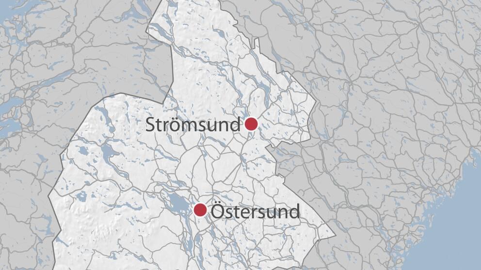 En karta över delar av Jämtland där Strömsund och Östersund är utmarkerade.