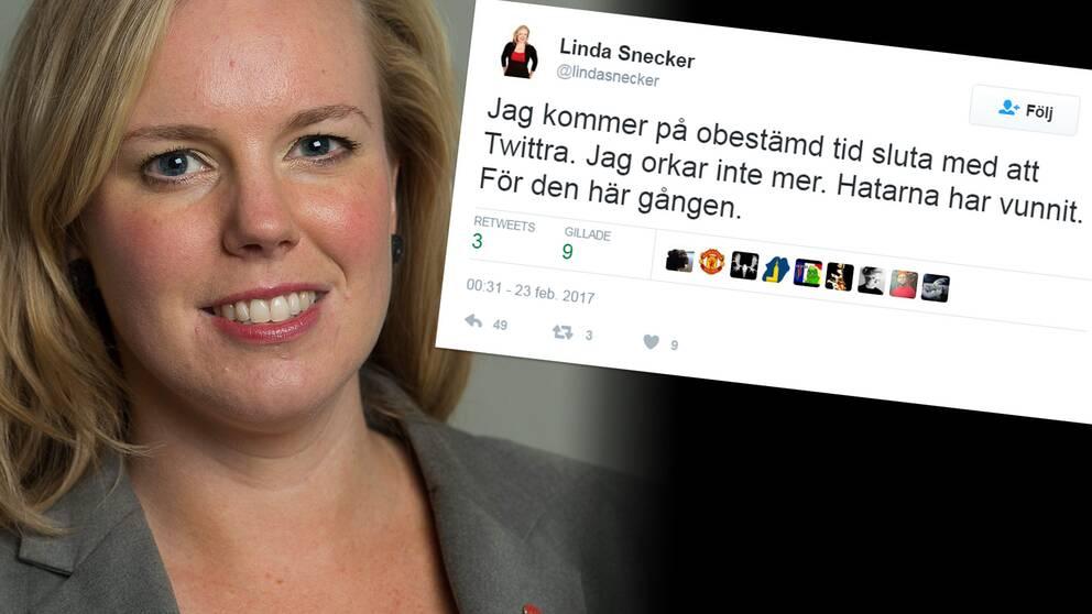 Linda Snecker riksdagsledamot och en tweet där hon skriver att hon slutar twittra.