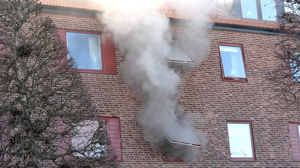 Räddningstjänsten på plats vid lägenhetsbranden i Varberg.