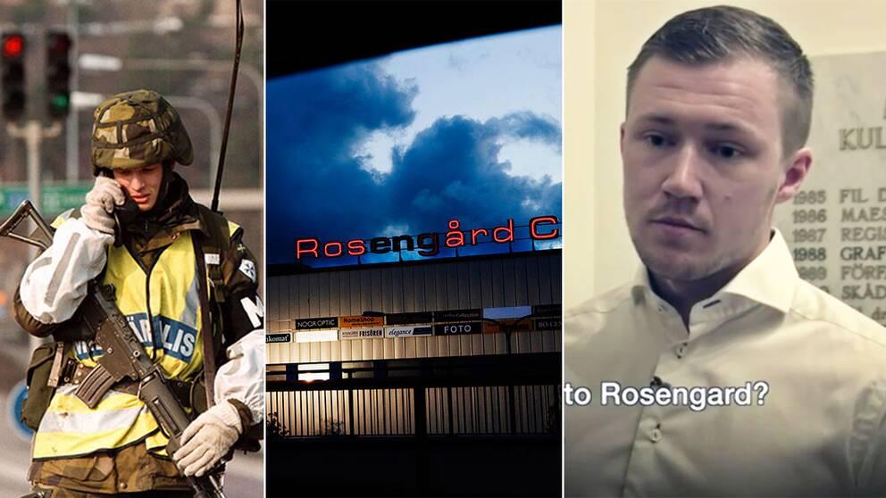 Pontus Andersson vill sätta in militär till Rosengård, säger han i en intervju med BBC. Till SVT backar han och säger att han menade militärpolis.