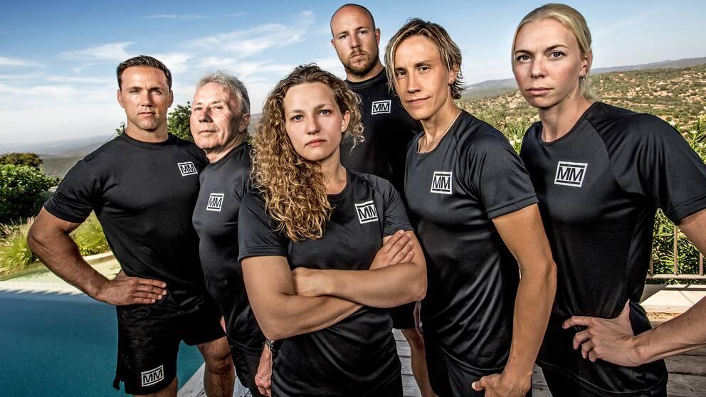"""Martin Lidberg, Per-Olof """"Posa"""" Serenius, Janni Larsson, Emil """"HeatoN"""" Christensen, Maria Rooth och Josefin Lillhage i Mästarnas mästare 2017."""