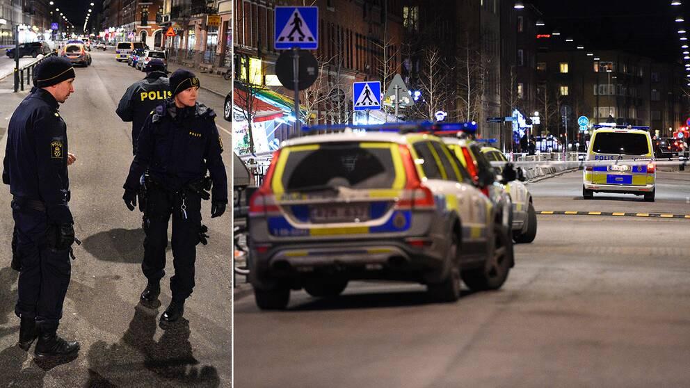 Poliser vid Möllevångstorget i Malmö efter en skjutning utanför en restaurang. Mannen som skottskadades avled senare av sina skador.
