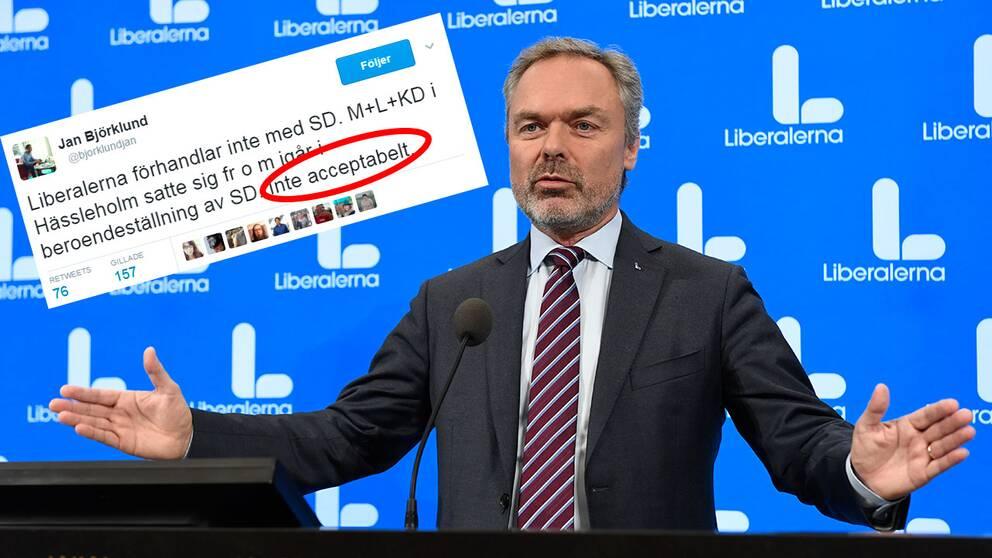 """""""Inte acceptabelt"""" att Moderaterna, Liberalerna och Kristdemokraterna nu är i beroendeställning av Sverigedemokraterna, twittrar Liberalernas partiledare."""