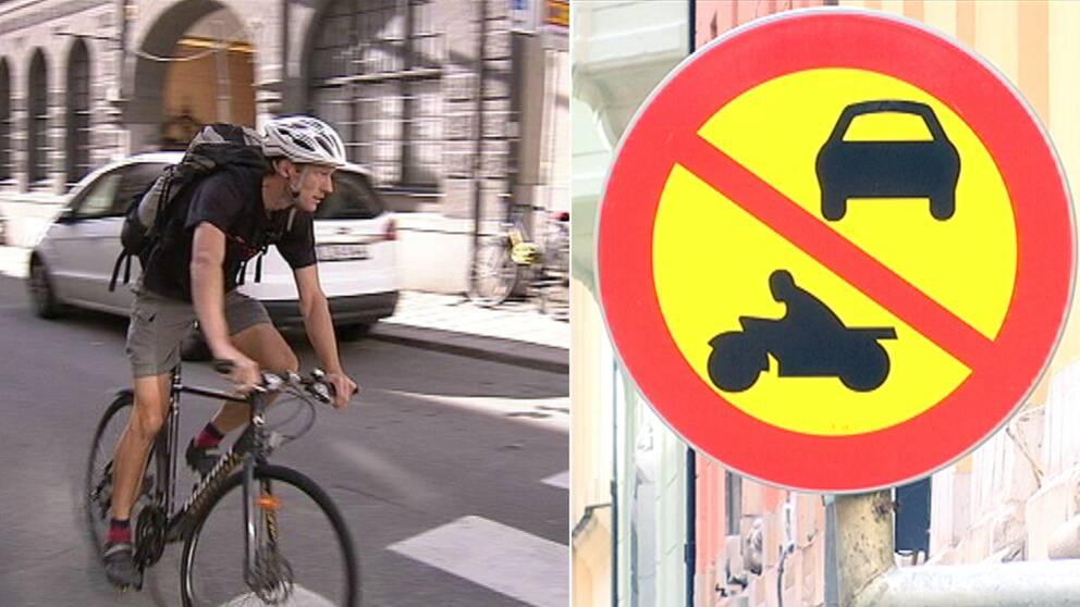 yklist och skylt Motortrafik förbjuden.