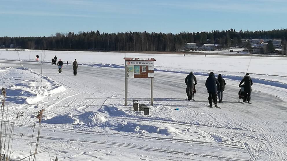 Strålande vackert vinterväder i Piteå i Norrbotten den 21 februari.