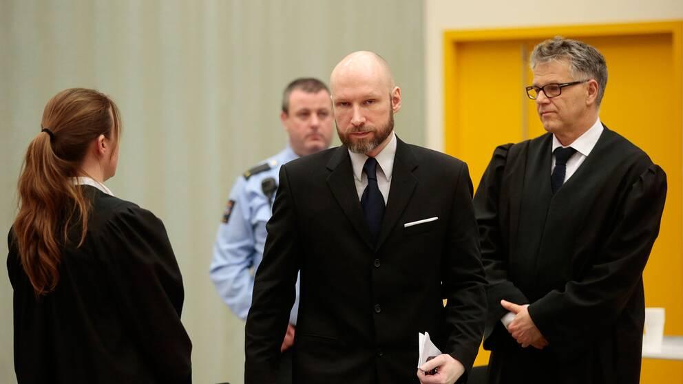 Anders Behring Breivik i rätten.