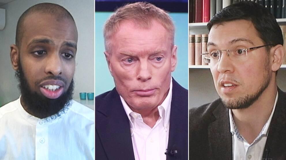 Rashid Musa, ordförande i Sveriges unga muslimer (till vänster), och religionsforskaren Emin Poljarevic (till höger) är kritiska till terrorforskaren Magnus Norells (mitten) rapport.