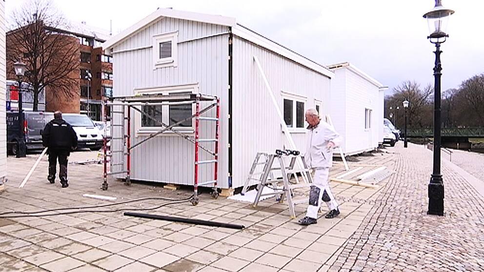 Attefallshus byggs i centrala Göteborg.