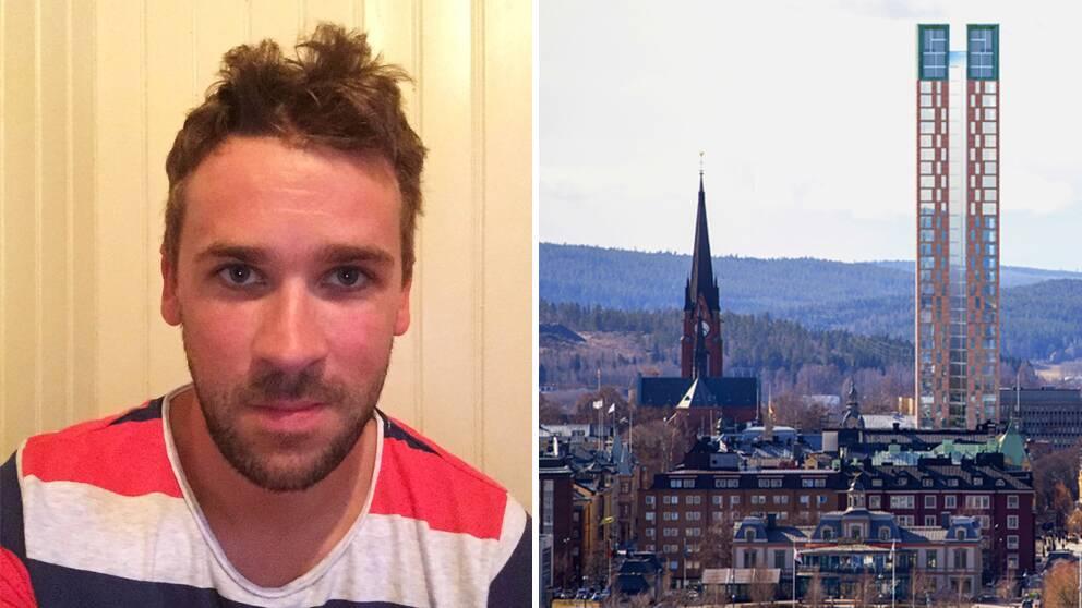 På bild ser vi Daniel Blomqvist och den debatterade skyskrapan, Torg1, som förminskar GA-kyrkan.