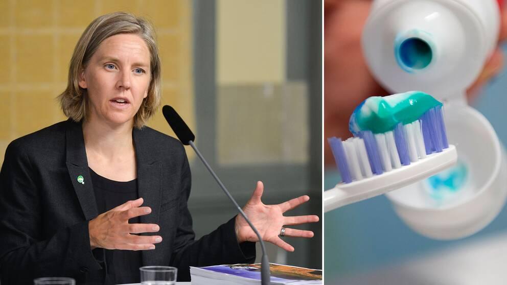 Miljöminister Karolina Skog vill förbjuda mikoplaster i bland annat tandkrämer