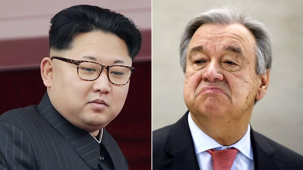 Nordkoreas diktator Kim Jong-Un (till vänster) och FN:s generalsekreterare António Guterres.