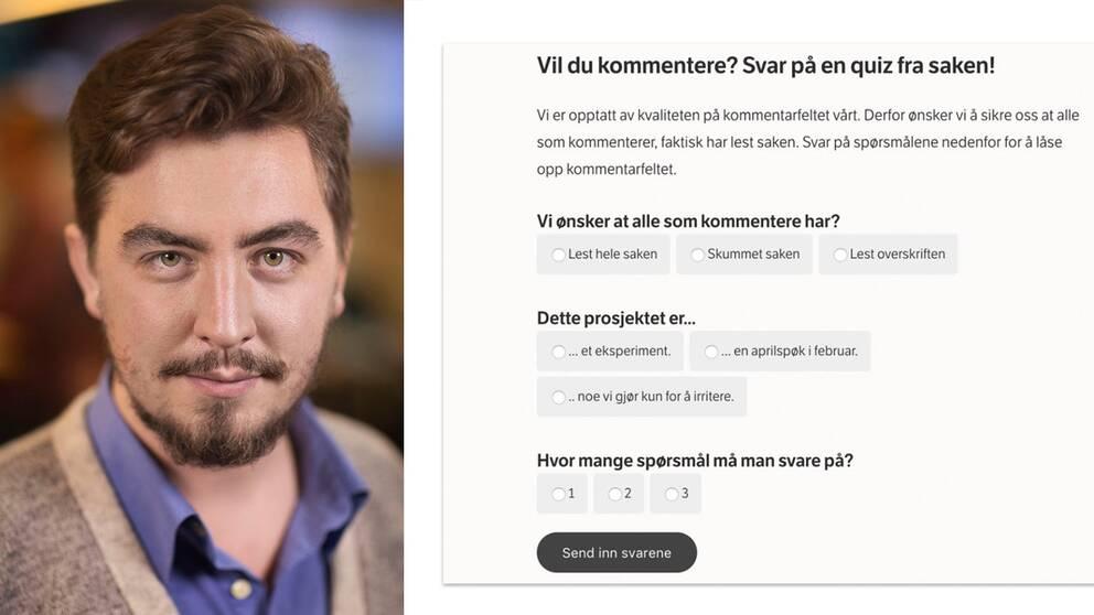 Journalisten Jack Werner, skärmdump NRK Betas spärrquiz för kommentarsfälten.