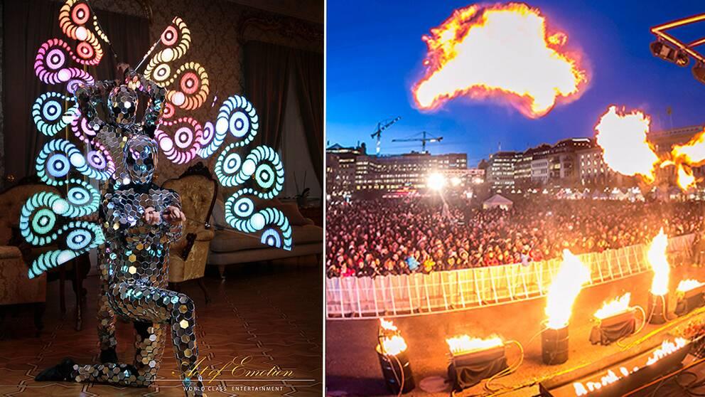 Act of Emotion (till höger). Eldfest i Kungsträdgården.