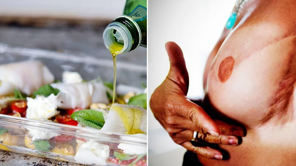 Olivolja, nötter, fisk, frukt och grönsaker – så kallad medelhavsmat kan ge visst skydd mot bröstcancer.