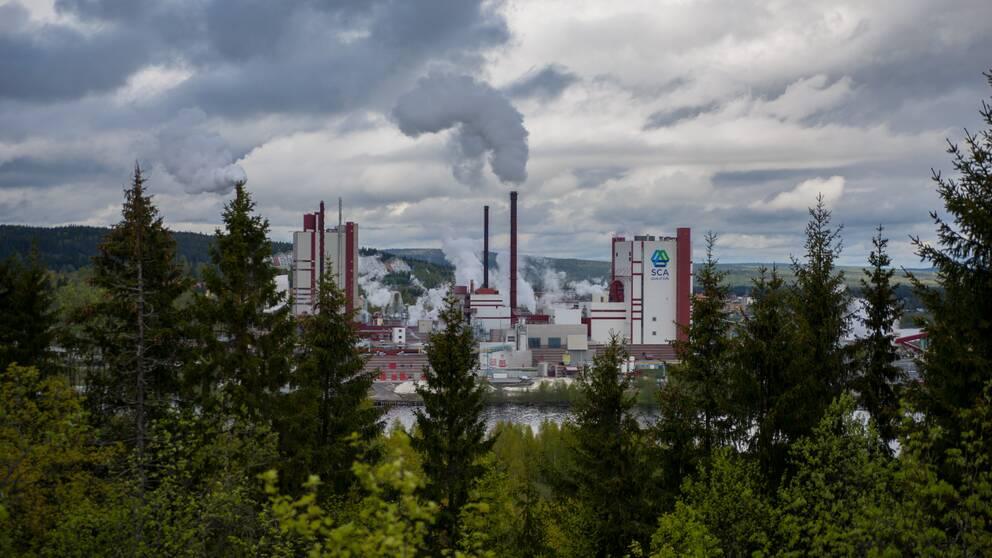 Foto över SCA-fabriken på Östrand i Timrå. Ur fabrikens skorstenar ryker det. I förgrunden syns skog.