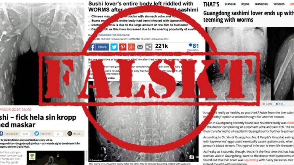 Bild från Metro.se som visar grafik om storyn om en man i Kina som uppges ha fått maskar i magen efter att ha mumsat på sushi och som spridits på sociala medier i hela världen. Men sushin är oskyldigt anklagad, bilderna som cirkulerat i flera stora medier är äldre än det påstådda fallet, enligt Viralgranskaren hos Metro.