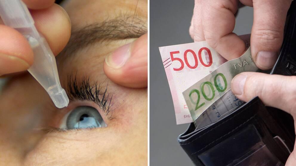 Ögondroppar i öga och sedlar i en plånbok