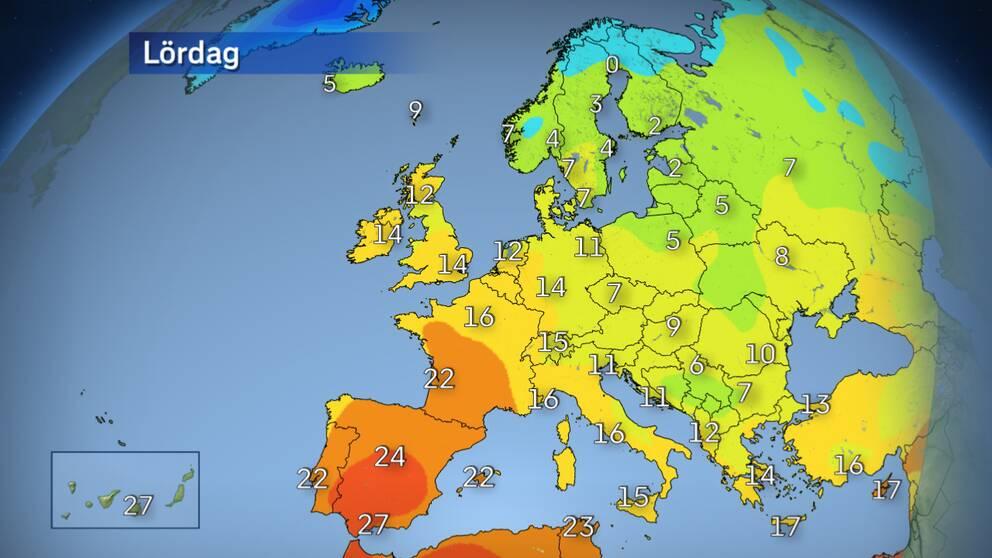 Temperaturer över Europa