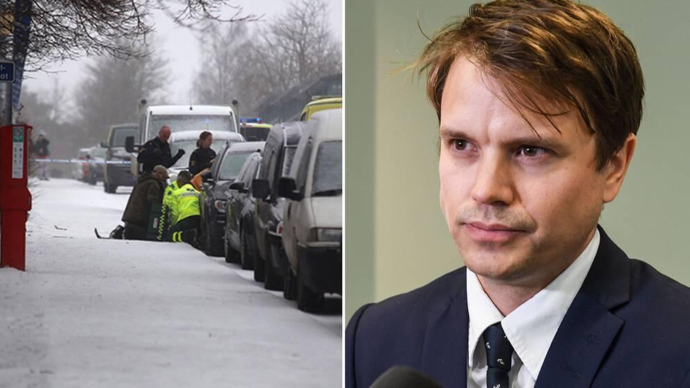 En bild från brottsplatsen och en bild på åklagare Olof Calmvik.