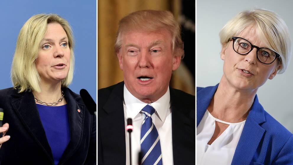 """Finansminister Magdalena Andersson, USA:s president Donald Trump och Moderaternas integrationspolitiska talesperson Elisabeth Svantesson har alla använt begreppet """"fake news""""."""