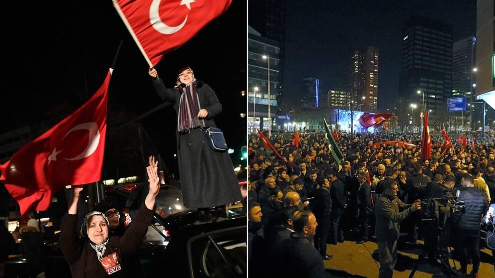 Många människor samlades utanför Turkiets ambassad i Nederländerna för att protestera.