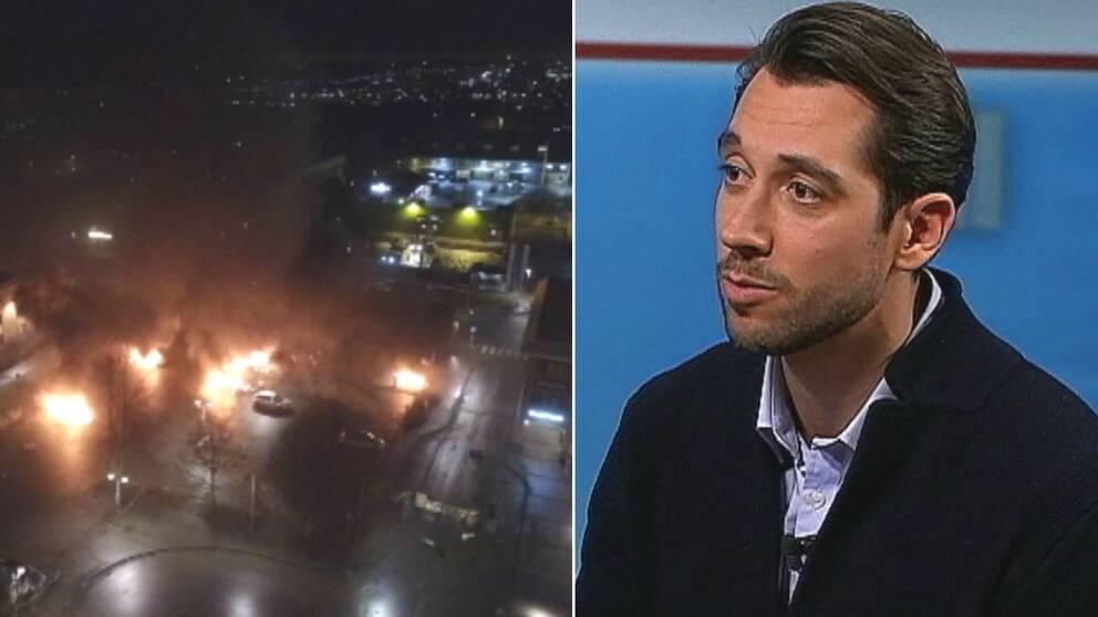 flygbild på upplopp i Rinkeby. Bild till vänster på Emir Gazibegovic,
