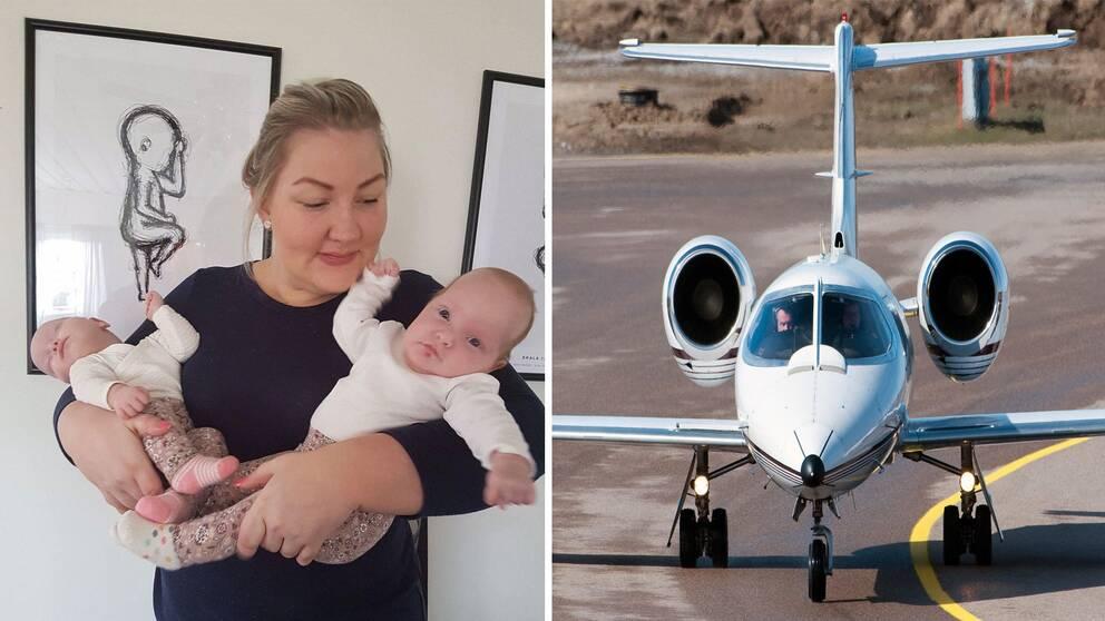 Jenna Sandelin fick åka till Finland för att föda tvillingarna Olivia och Odelia