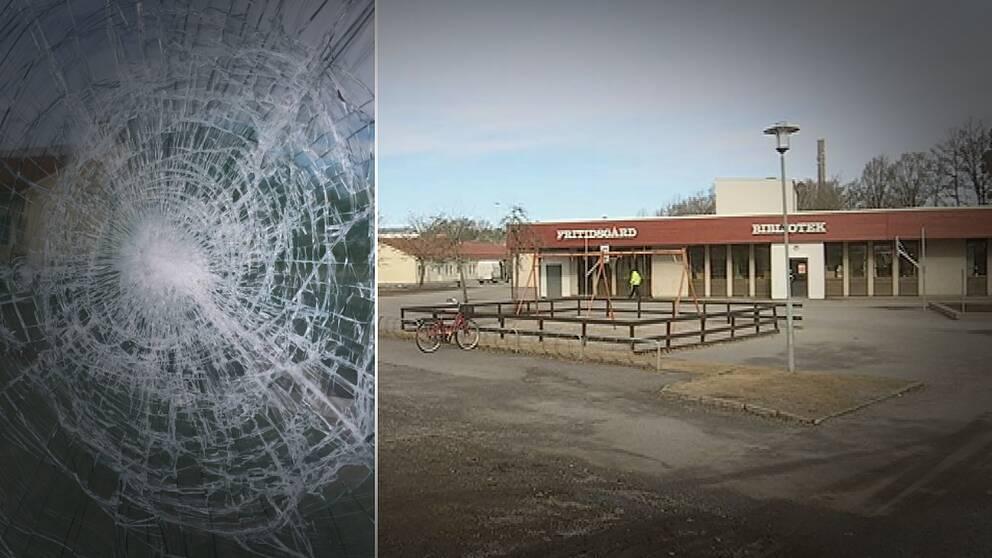Lagersbergsskolan och en av 18 krossade fönsterrutor på skolan.