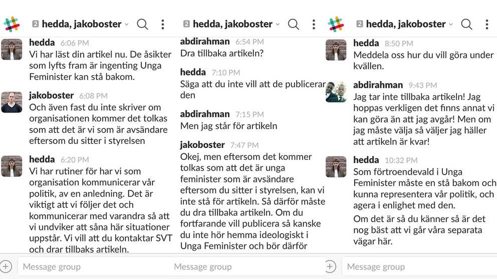 Konversation mellan Hedda Tingskog, Jakov Öster på Unga Feminister och Abdirahman Mohammed Ahmed.