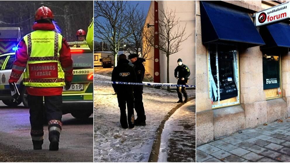 Tre bombdåd i Göteborg.