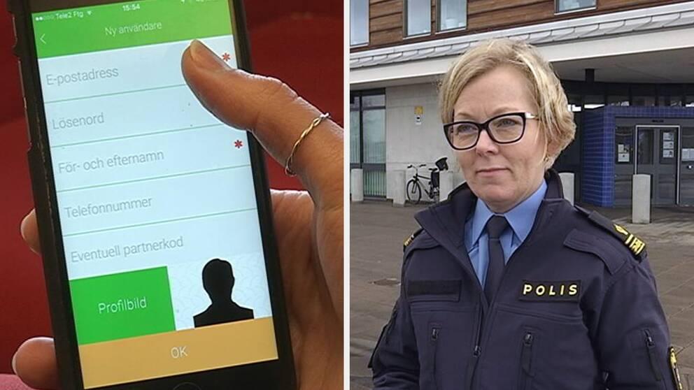 Lotta Petersson, kommunpolis i Kalmar, visar den nya trygghetsappen.