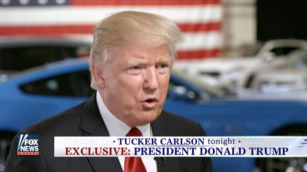 """Det är i en tv-intervju i programmet """"Tucker Carlson Tonight"""" som sändes på onsdagskvällen (amerikansk tid) i Fox News som president Trump återigen tar upp Sverige."""