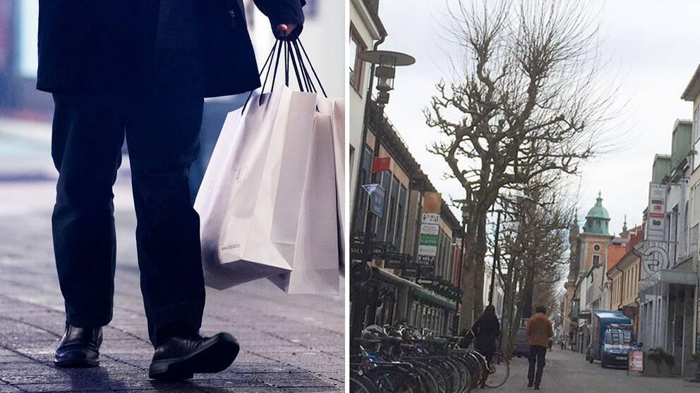 Person med shoppingkassar, bild från Kalmars centrum