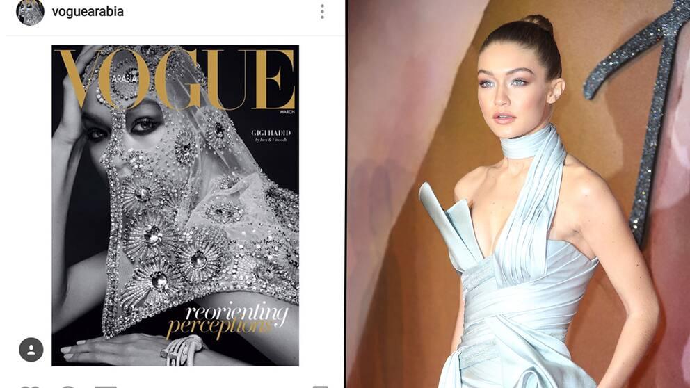Omslaget till Vogue Arabia på Instagram/ Supermodellen Gigi Hadid