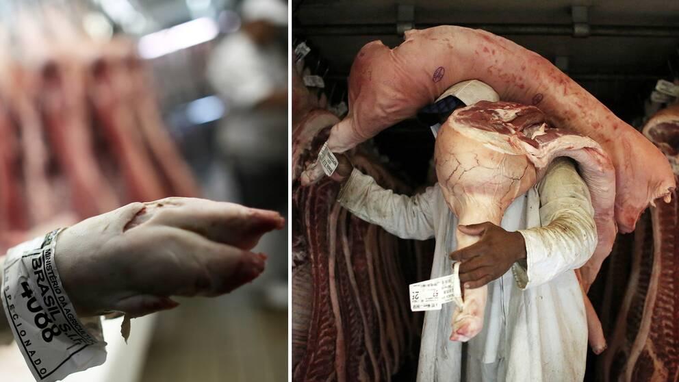 En slaktare hanterar kött godkänt av brasilianska myndigheter, inom en rad företag som processar och förpackar kött i landet misstänker polisen att ett omfattande fusk har pågått.