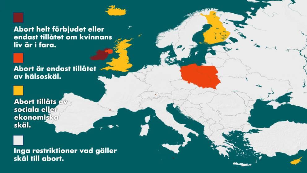 Karta Varlden Europa.Abortratten I Europa Land For Land Svt Nyheter