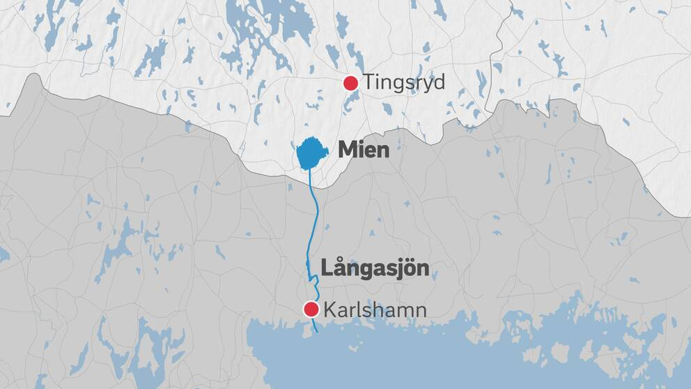 Karta över sjön Mien i Tingsryds kommun, som rinner via Mieån till Långasjön i Karlshamns kommun.