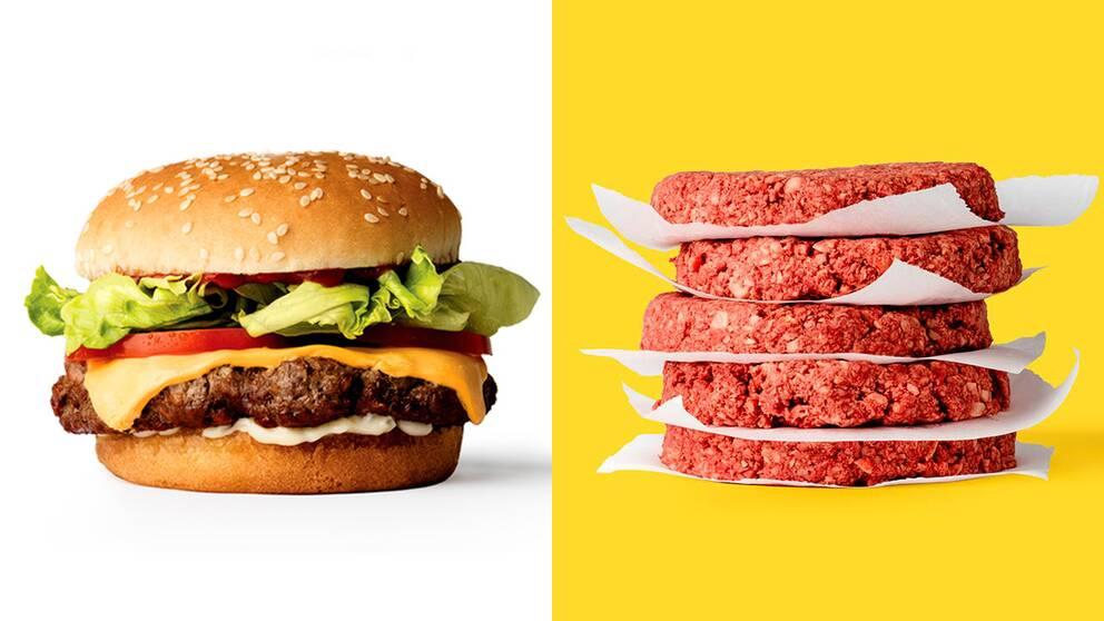 Hamburgaren ser ut som kött – även rå – men består uteslutande av ingredienser från växtriket.