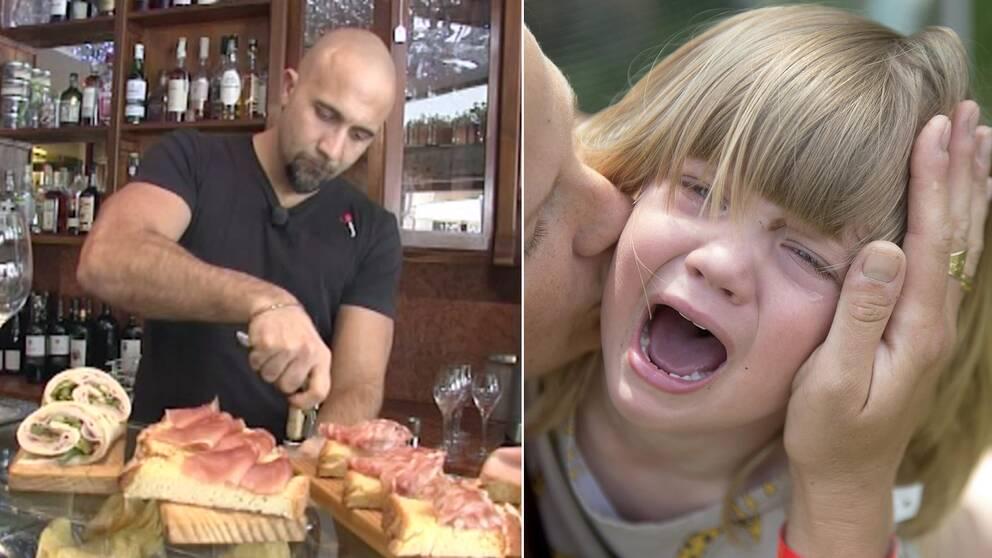 Krögaren som infört rabatten och ett barn som skriker.
