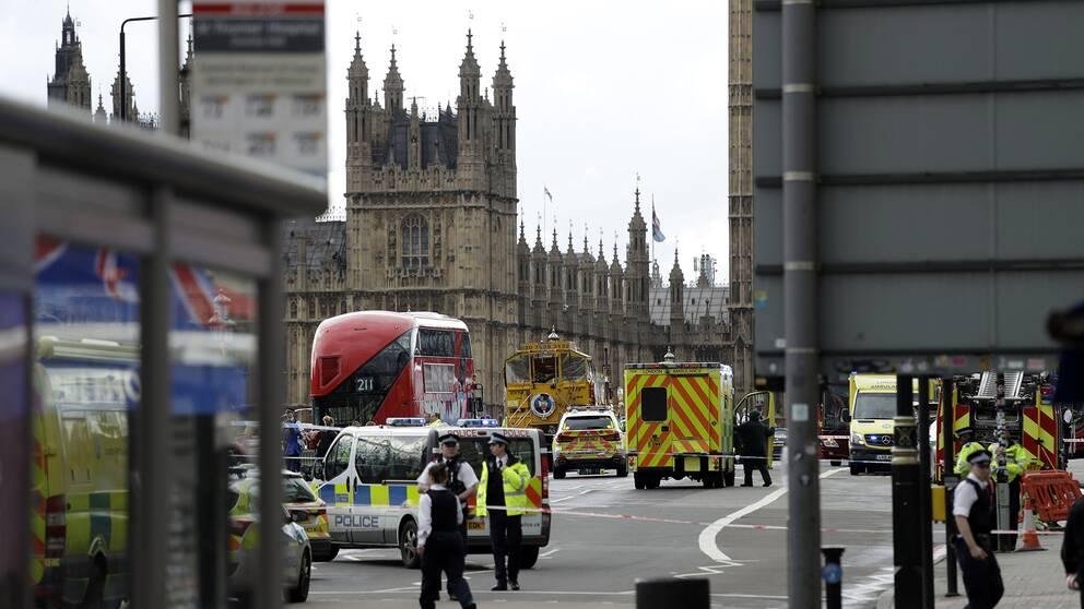 Polis utanför Westminster under onsdagen.