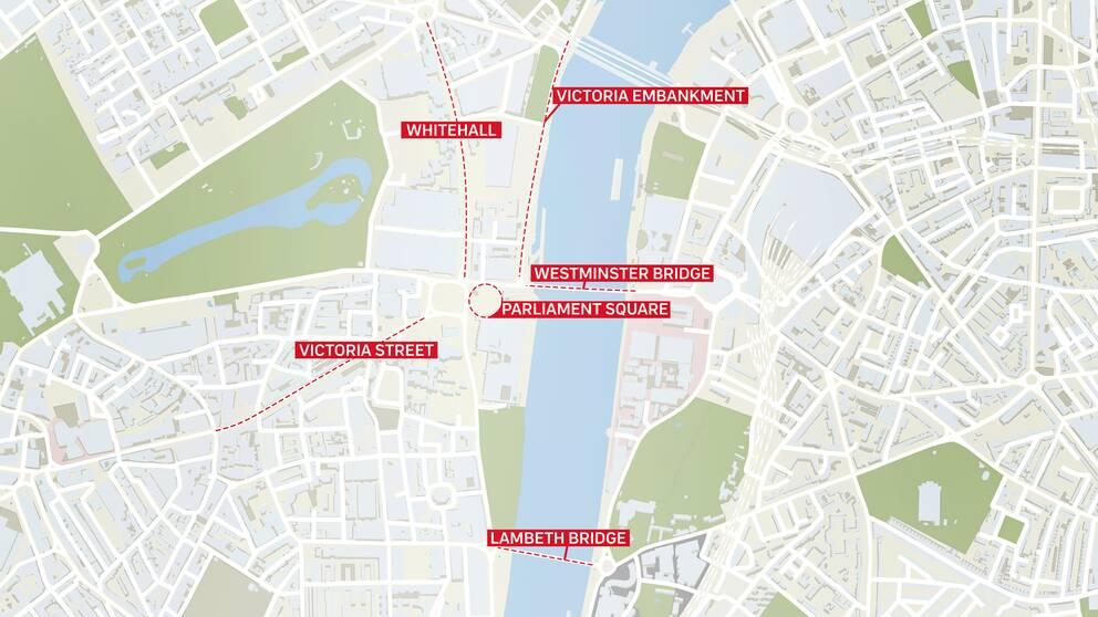 Här är platserna som Londonpolisen, strax efter attacken, uppmanade folk att undvika.