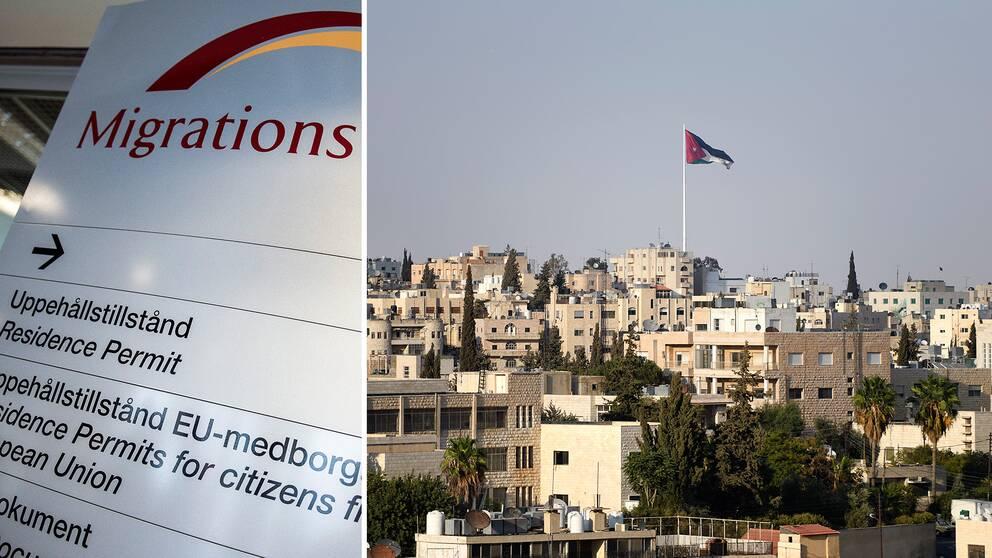 Asylsökande och en bild på Jordaniens huvudstad Amman.