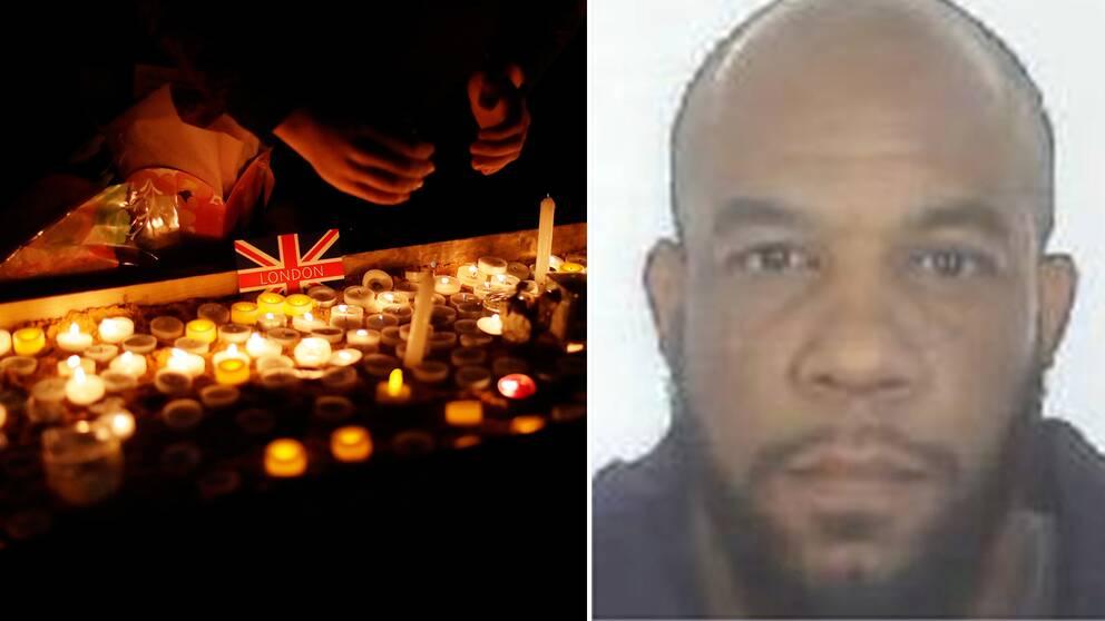 Ljusvaka efter attentatet och en bild på Khalid Masood.