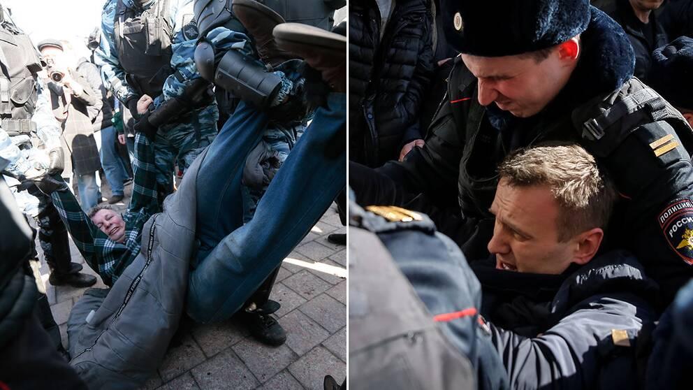 Dramatiska bilder från ryska protester, där oppositionsledaren gripits (högra bilden).