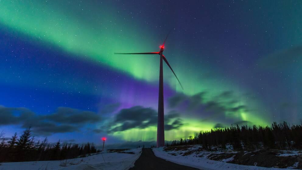 vindkraftverk, norrsken
