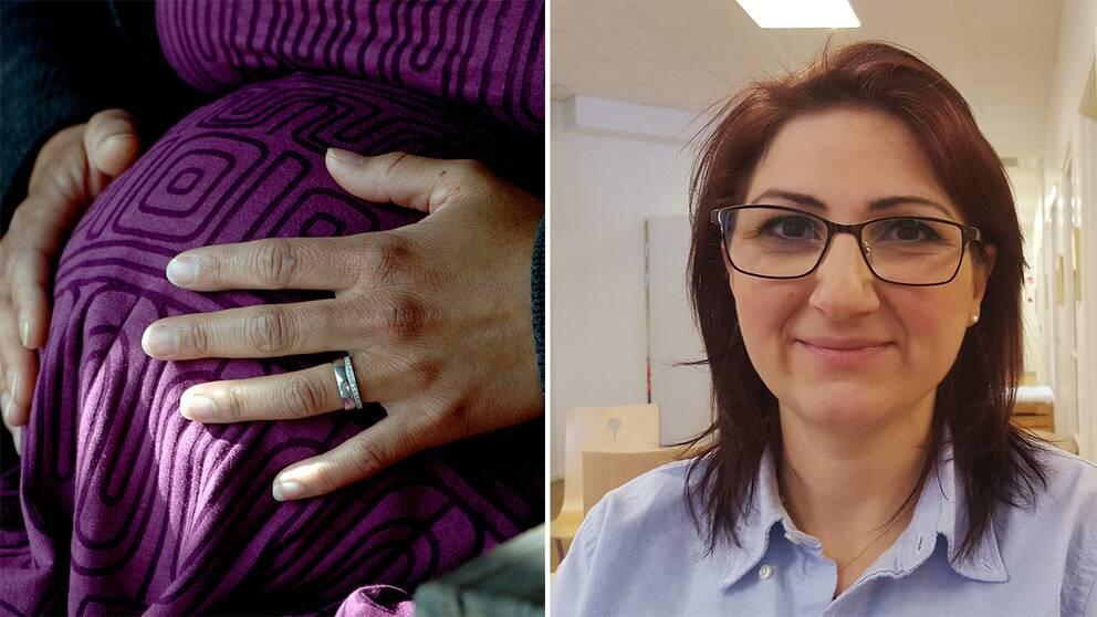 Rana Allo blivande doula mage med händer gravid