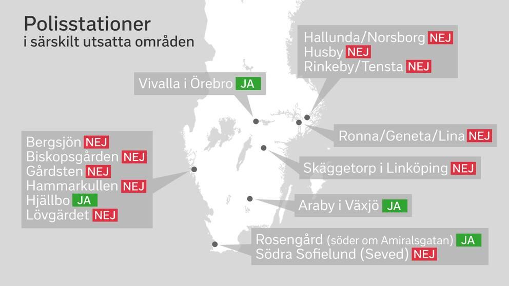 En karta som pekar ut de 15 särskilt utsatta områdena och i vilka det finns polisstationer.