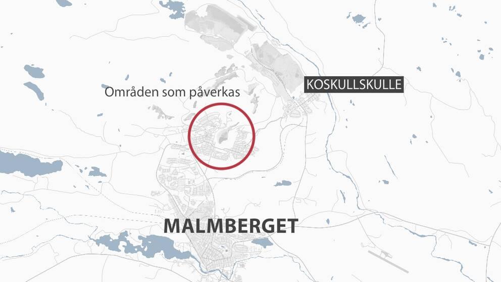Malmberget, inringat är bostadsområden som ska rivas eller flyttas till Koskullskulle. LKAB:s nya tidsplan presenterades.